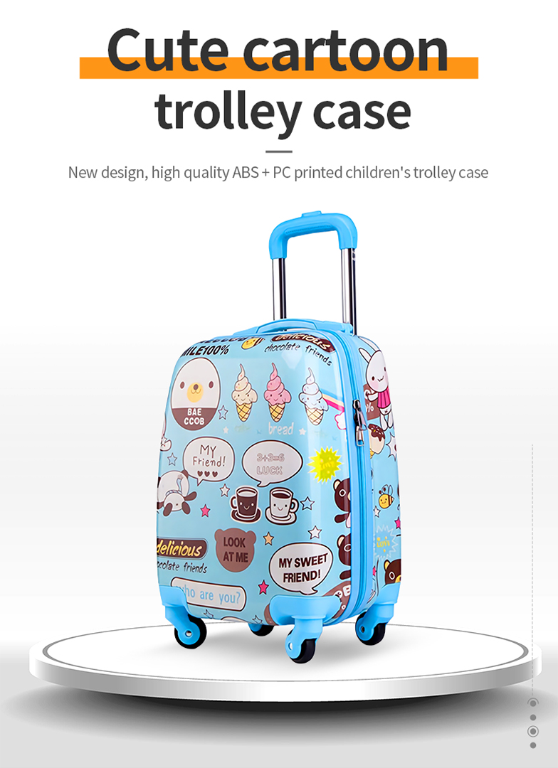 New design, high quality ABS+PC printed children's trolley case-HTJP-69-Greatchip